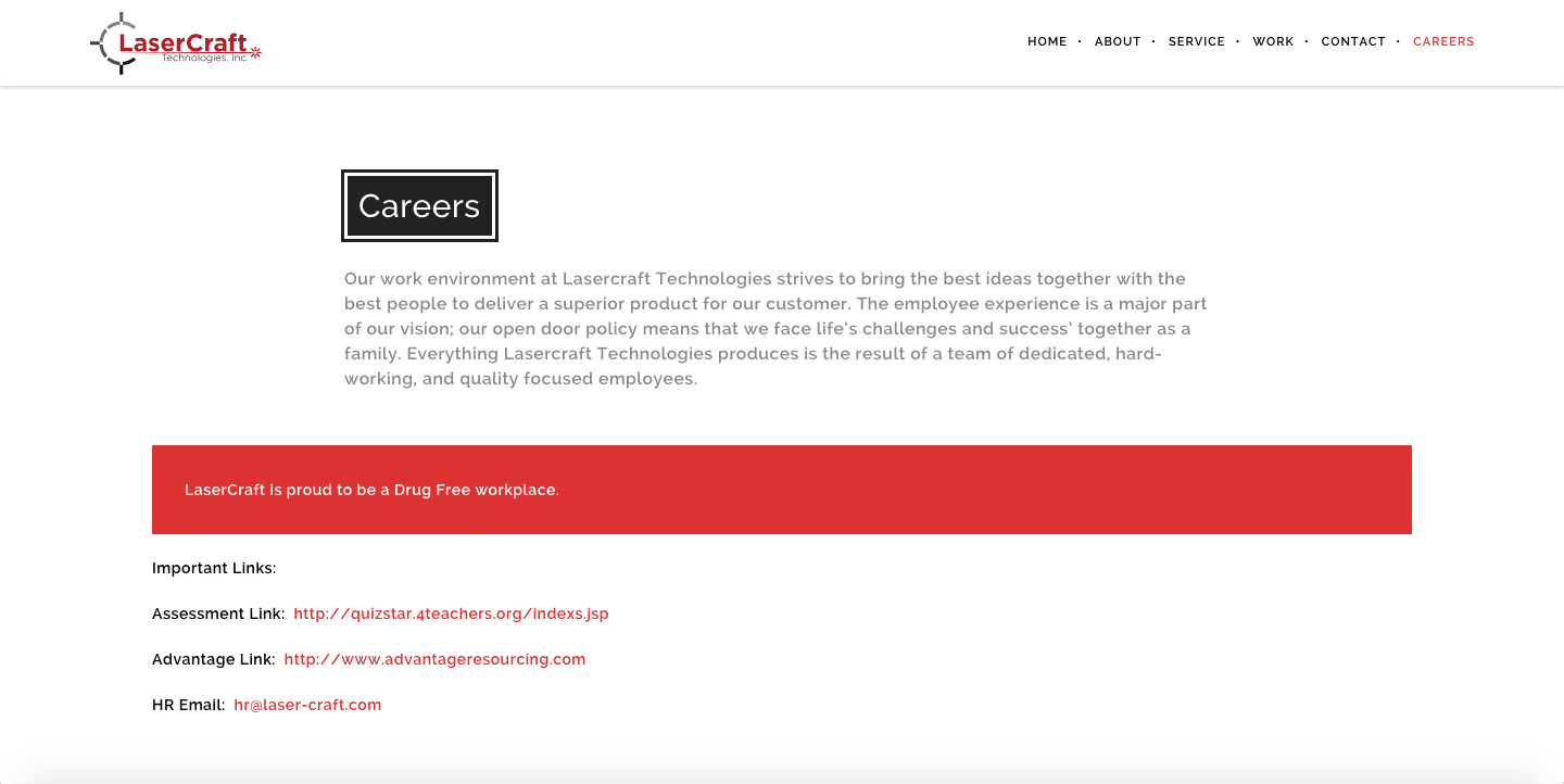 LaserCraft Careers Page