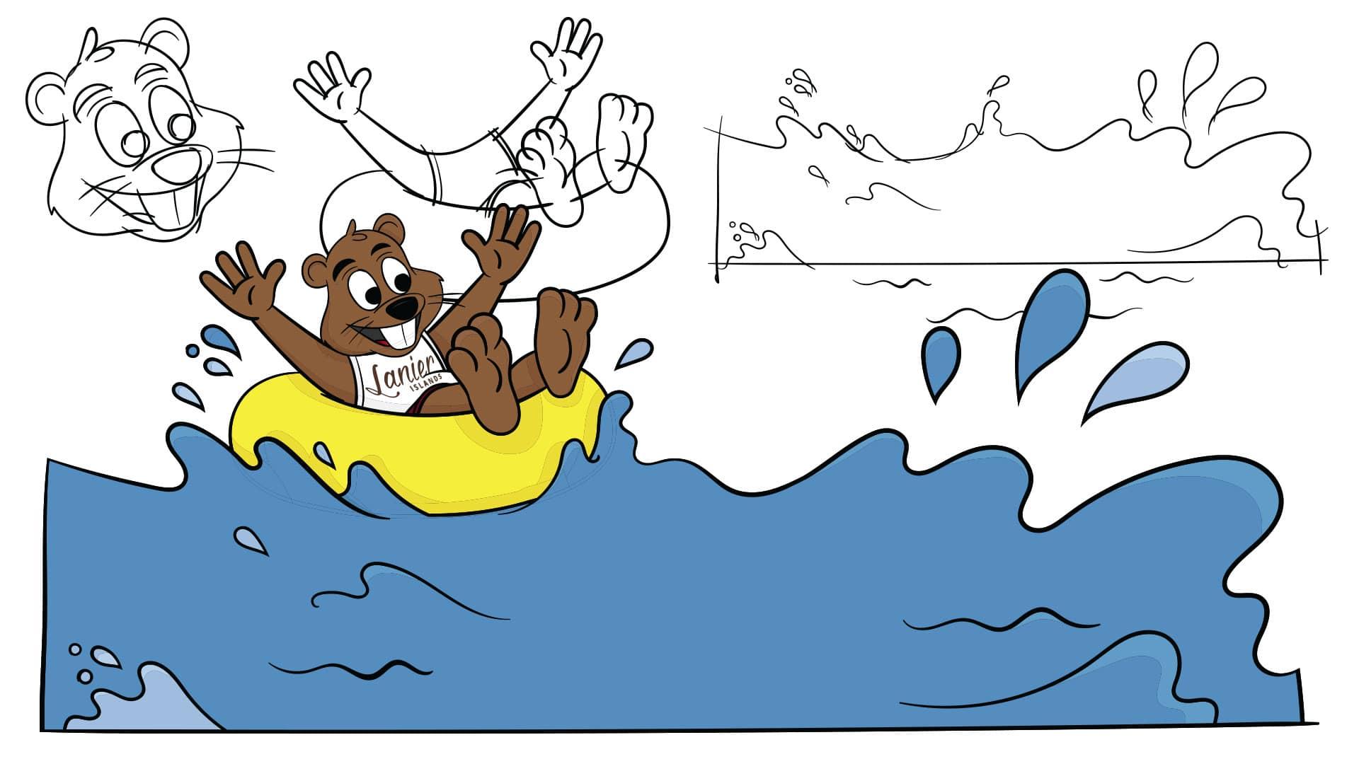 Bucky Beaver Inner Tubing Wild Waves Drawing