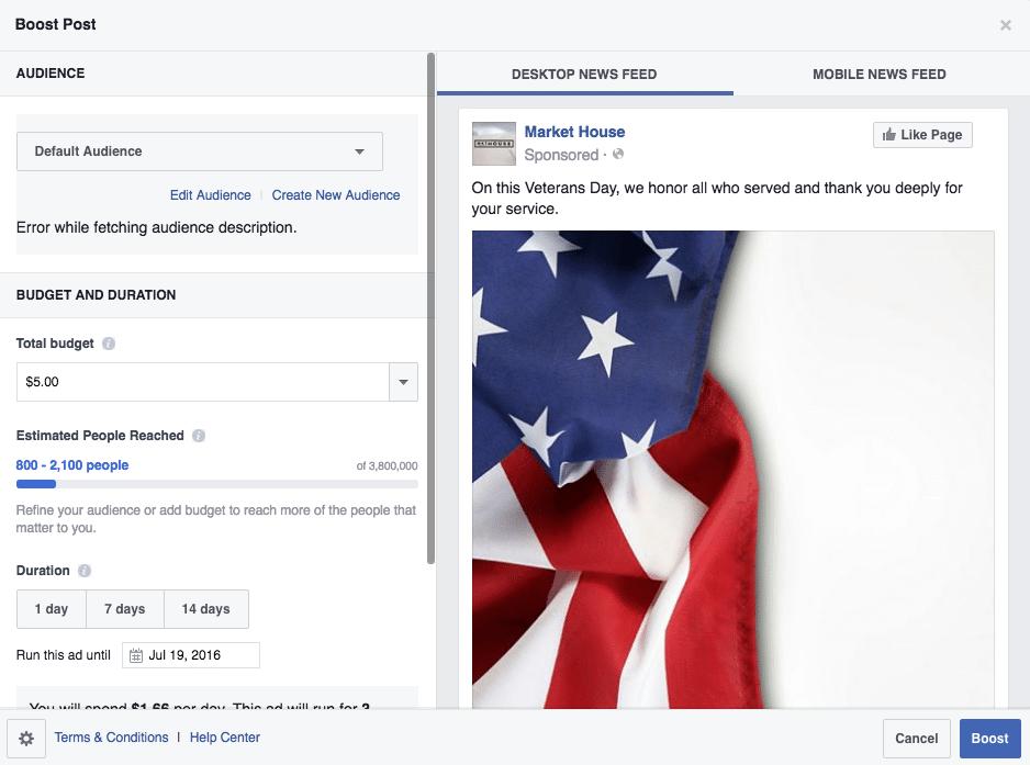 Boost Facebook Post